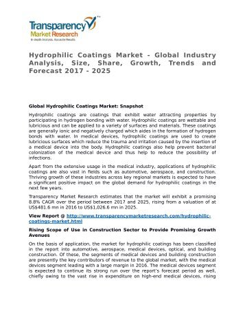 Hydrophilic Coatings Market 2017 Trends, Research, Analysis and Review Forecast 2025