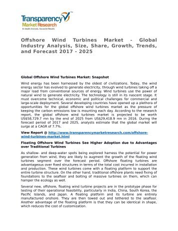 Offshore Wind Turbines Market 2017 Trends, Research, Analysis and Review Forecast 2025