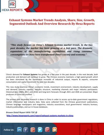 Exhaust Systems Markets Analysis, Share, Size, Growth, Segmented Outlook And Overview Research By Hexa Reports
