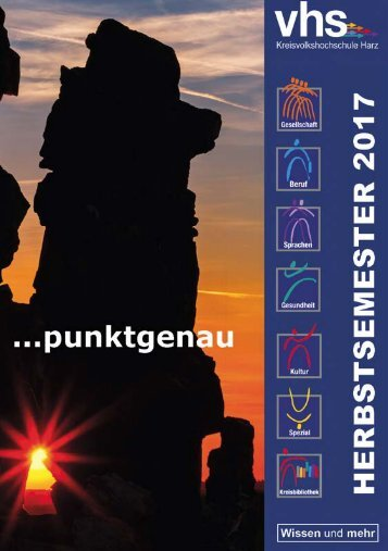 Herbstsemester 2017 - Das aktuelle Kursprogramm der Kreisvolkshochschule Harz