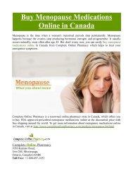 Buy Menopause Medications Online in Canada