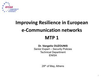 Improving Resilience in European e-Communication networks MTP 1