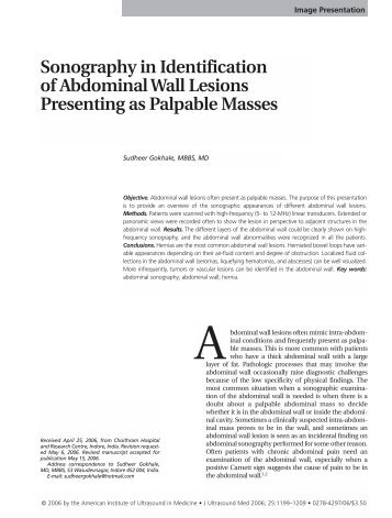 Sonography in Identification of Abdominal Wall Lesions Presenting ...