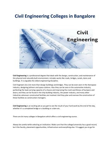 Civil Engineering Colleges in Bangalore