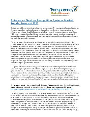 Automotive Gesture Recognition Systems Market