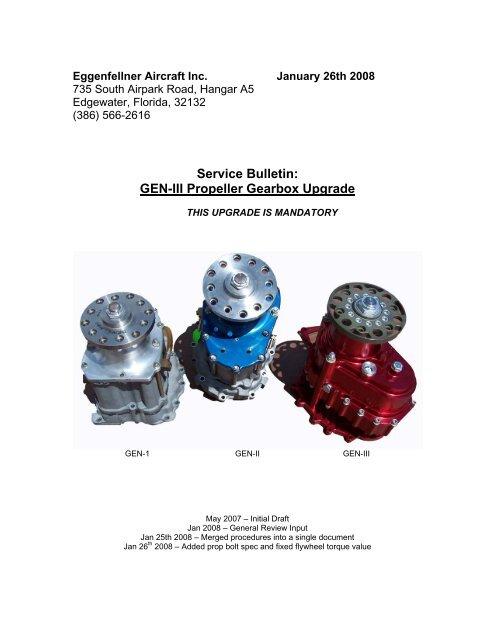 Service Bulletin: GEN-III Propeller Gearbox Upgrade