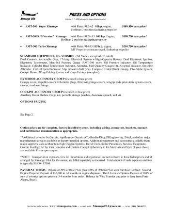 PRICES AND OPTIONS - XIMANGO USA