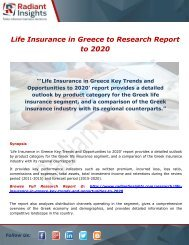 Life Insurance in Greece: Demand, Analysis & Forecast to 2020 by Radiant Insights,Inc