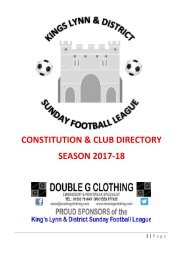 THE 2017/18 KING'S LYNN AND DISTRICT SUNDAY LEAGUE HANDBOOK