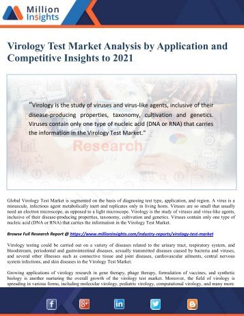 Virology Test Market Analysis by Application and Competitive Insights to 2021 - Million Insights
