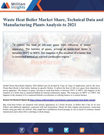 Waste Heat Boiler Market Share, Technical Data and Manufacturing Plants Analysis to 2021 - Million Insights