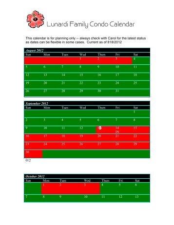Lunardi Family Condo Calendar
