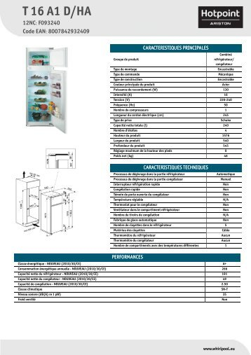 KitchenAid T 16 A1 D/HA - T 16 A1 D/HA FR (F093240) Product data sheet