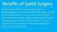 Benefits of Eyelid Surgery