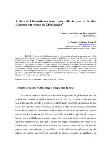 A idéia de Liberdade em Kant: uma reflexão para ... - Reitoria - UFSC