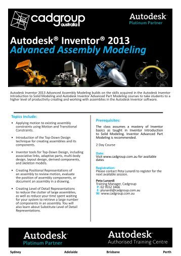 Autodesk® Inventor® 2013 Advanced Assembly Modeling - Cadgroup