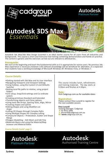 Autodesk 3DS Max Essenfials - Cadgroup