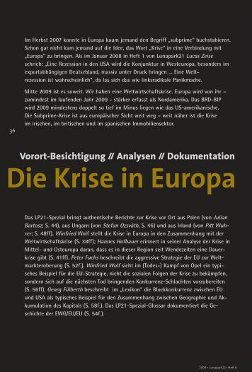 Die Krise in Europa - Lunapark21