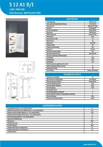 KitchenAid S 12 A1 D/I - S 12 A1 D/I DE (F093708) Product data sheet