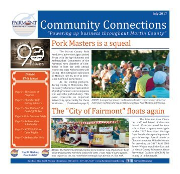 July 2017  Newsletter-Fairmont/Martin County MN Chamber
