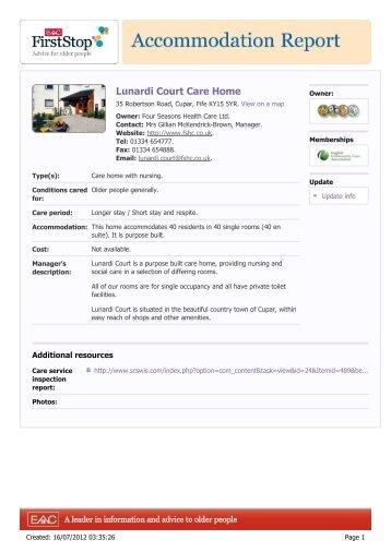 Lunardi Court Care Home: 35 Robertson Road ... - HousingCare.org