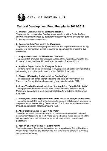 Cultural Development Fund Recipients 2011-2012 - City of Port Phillip