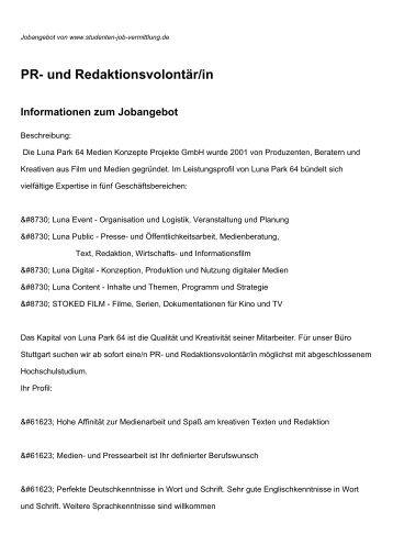 PR- und Redaktionsvolontär/in Informationen zum Jobangebot