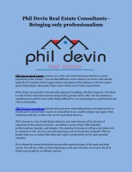 Phil Devin Real Estate Consultants - Bringing only professionalism