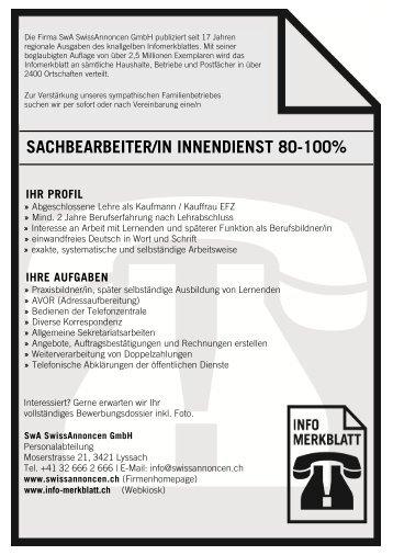 Stelleninserat Sachbearbeiter/in Innendienst 80-100%