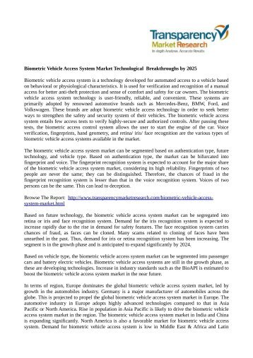 Biometric Vehicle Access System Market Technological  Breakthroughs by 2025