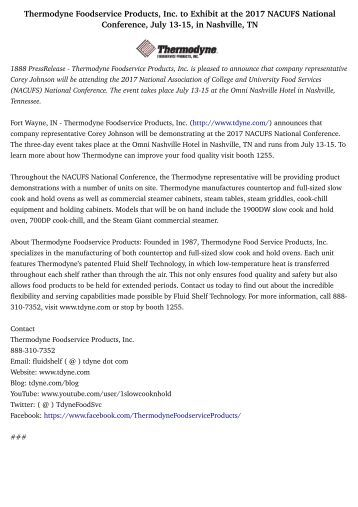 Thermodyne Foodservice Products, Inc. to Exhibit at the 2017 NACUFS National Conference, July 13-15, in Nashville, TN