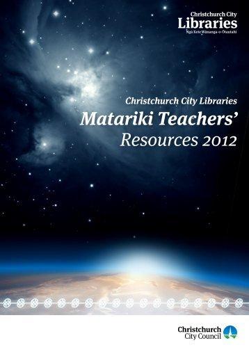 Matariki teacher resource pack - Christchurch City Libraries