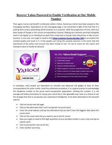 Yahoo Customer Support Phone Number