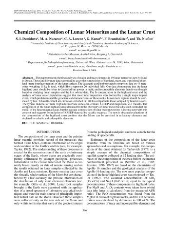 Chemical Composition of Lunar Meteorites and the ... - Gero Kurat