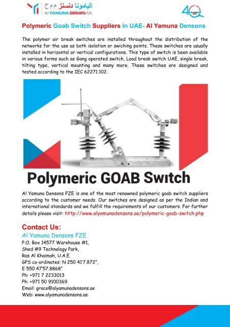 Polymeric Goab Switch Suppliers In UAE- Al Yamuna Densons FZE