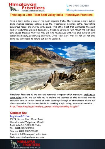 Trekking in Little Tibet Spiti Valley India - Himalayan Frontiers
