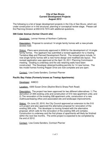 1 of 3 City of San Bruno Current Development Projects August 2012 ...
