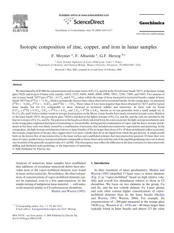 Isotopic composition of zinc, copper, and iron in lunar samples