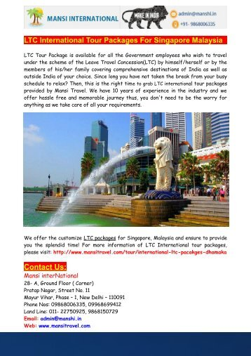 LTC International Tour Packages For Singapore Malaysia - Mansi interNational