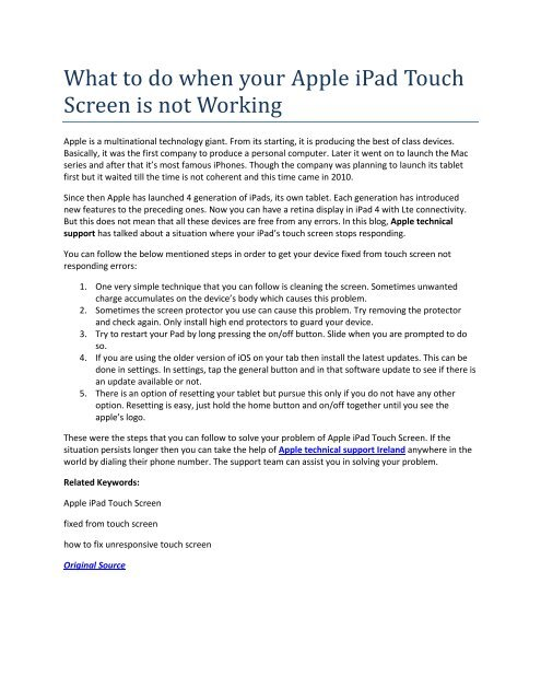 What to do when your Apple iPad Touch Screen is not Working