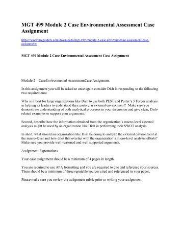 MGT 499 Module 2 Case Environmental Assessment Case Assignment