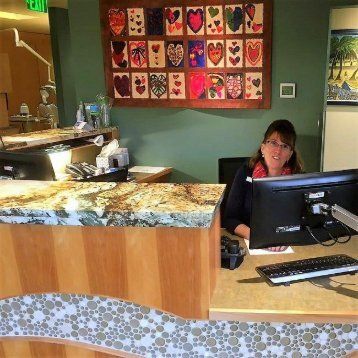 Reception desk at Bainbridge Island dentist Current Dental
