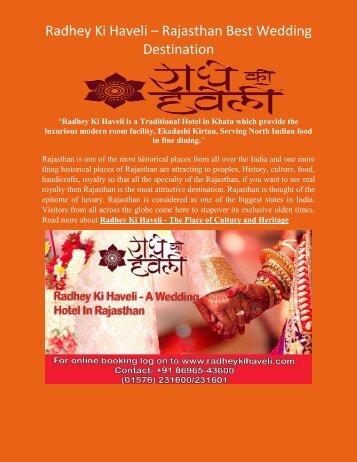 Radhey Ki Haveli – Rajasthan Best Wedding Destination