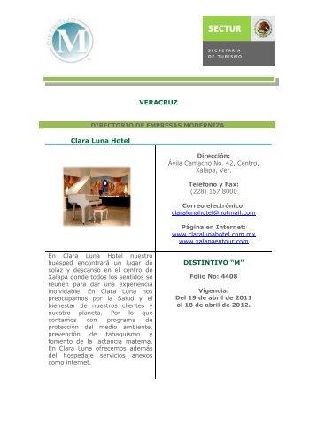"VERACRUZ Clara Luna Hotel DISTINTIVO ""M"" - Sectur"