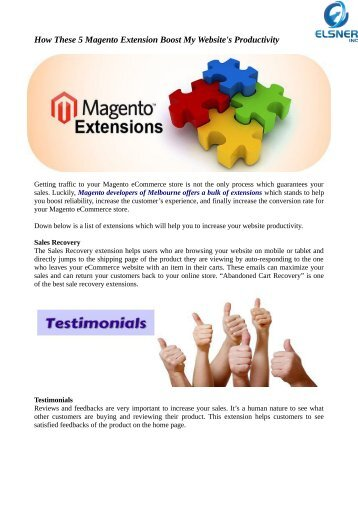 Use Latest Magento Extension To Boost Your Website's Productivity