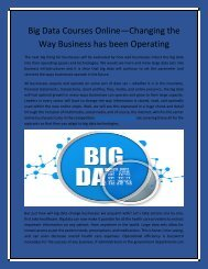 Big Data Courses Online—Changing the Way Business has been Operating