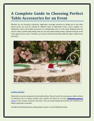 A Complete Guide to Choosing Perfect Table Accessories for an Event