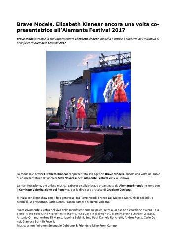 Brave Models, Elizabeth Kinnear ancora una volta co-presentatrice all'Alemante Festival 2017