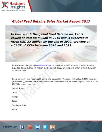 Feed Betaine Sales Market: 2016 Trend, Demand Analysis & 2022 Industry Growth Research Report:Radiant Insights, Inc