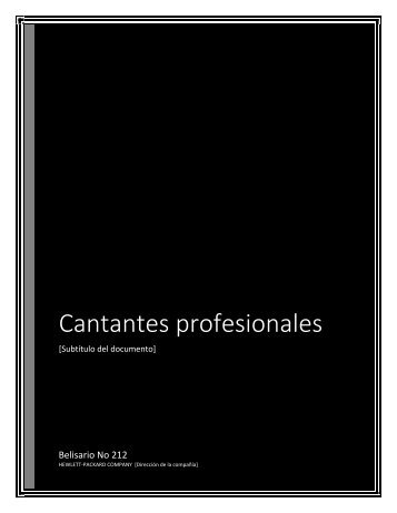 Cantantes profesionales